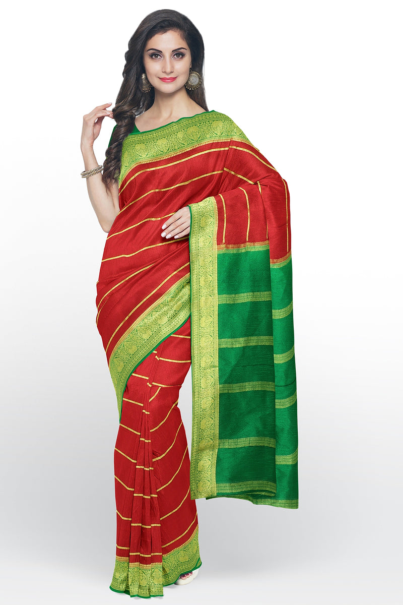 Pure mysore crepe silk saree red and green with golden zari lines and floral border