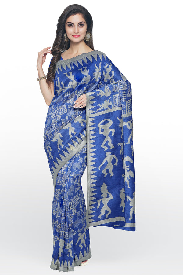 Semi Linen saree royal blue with warli thread weaving