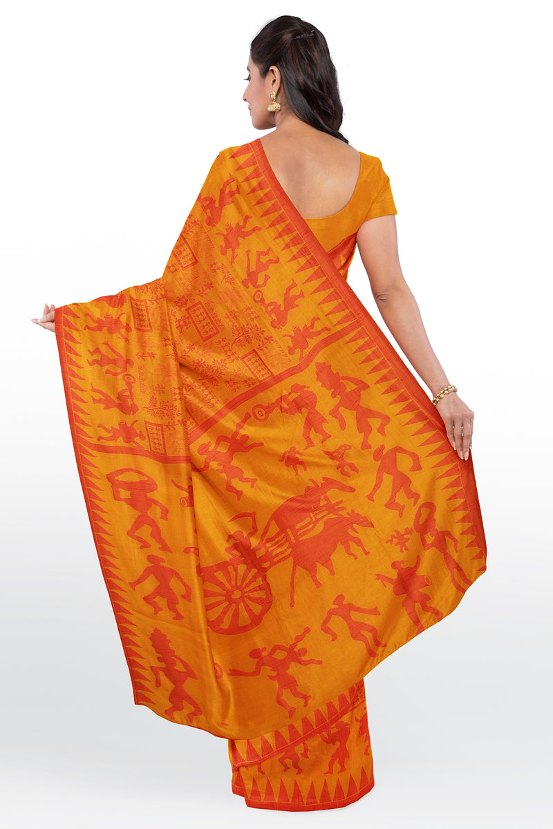 Semi Linen saree yellow with warli thread weaving for Rs.Rs. 1710.00 | Linen Sarees by Prashanti Sarees