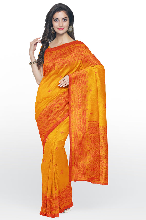 Semi Linen saree yellow with thread work and body butta