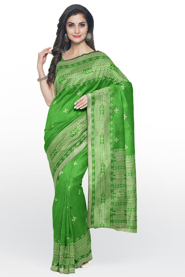 Semi Linen saree green with thread work and body butta for Rs.Rs. 1770.00 | Linen Sarees by Prashanti Sarees