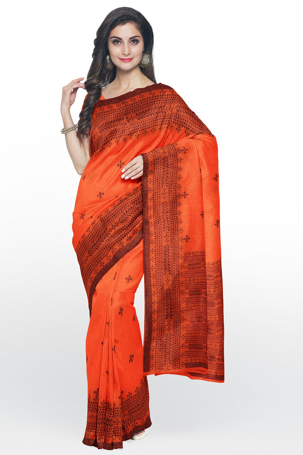 Semi Linen saree orange with thread work and body butta