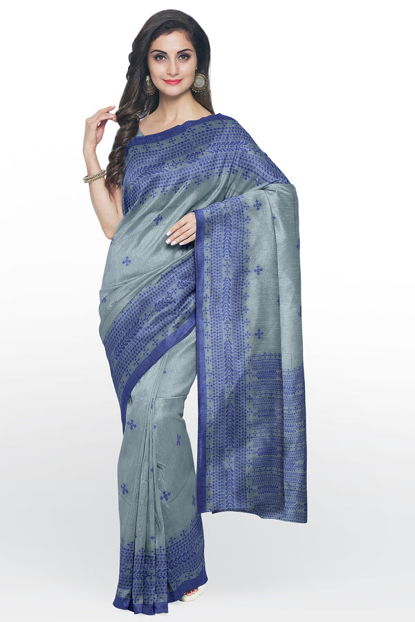 Semi Linen saree grey with thread work and body butta