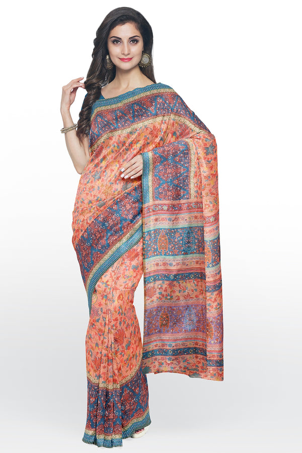 Semi Linen saree orange with peacock blue digital floral print