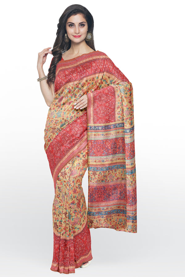 Semi Linen saree yellow with red digital floral print