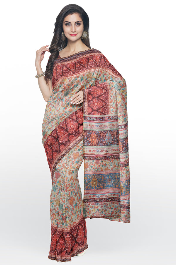 Semi Linen saree beige with brown digital floral print
