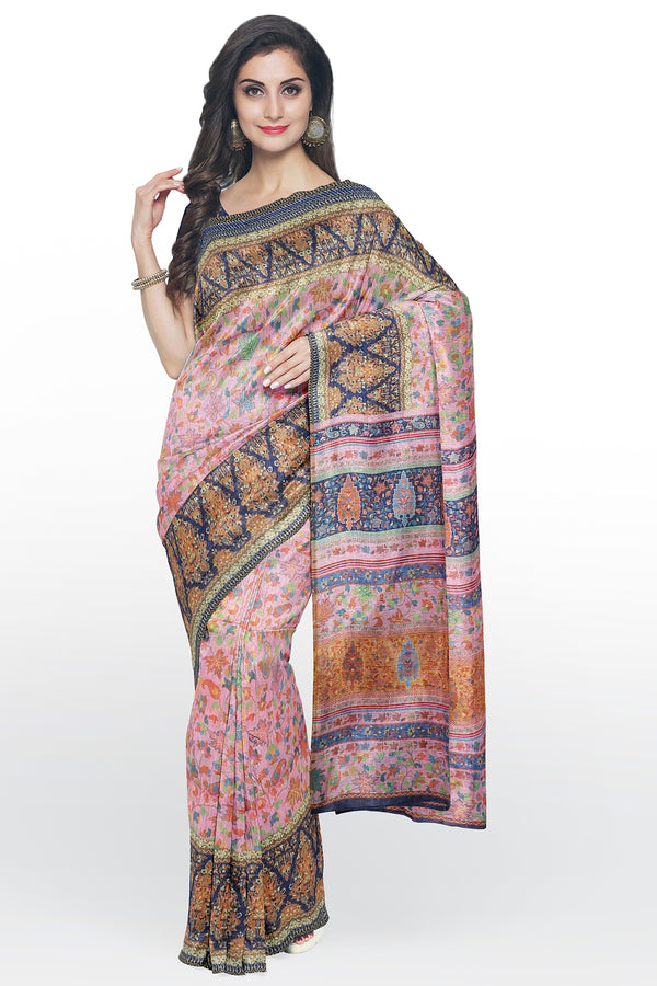 Semi Linen saree pink with blue digital floral print