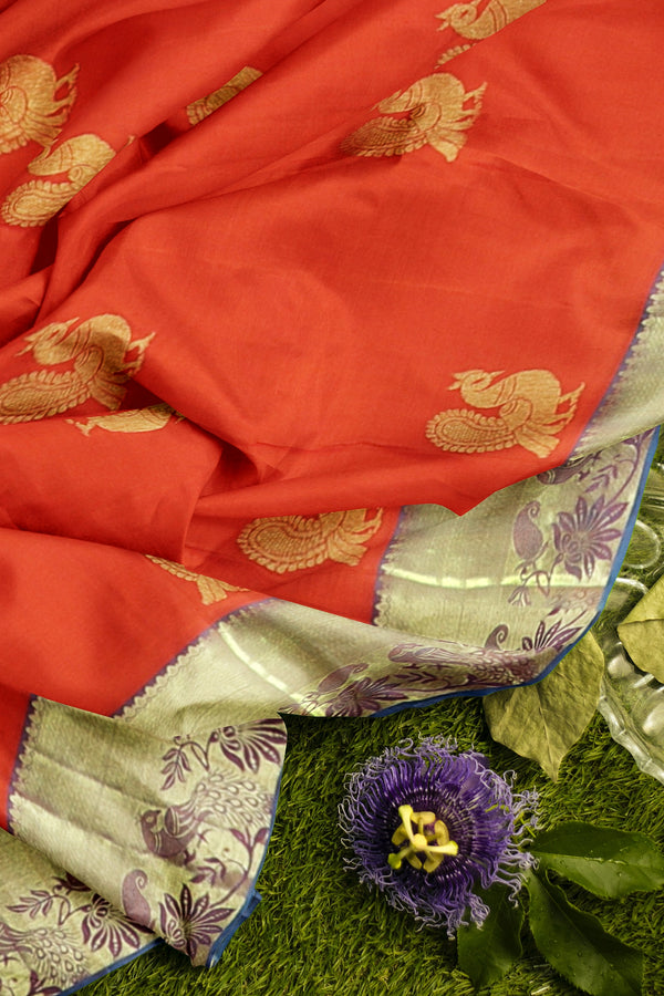 Pure Kanjivaram silk saree orange and peacock blue with golden peacock zari butta and border