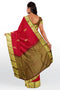 Pure Kanjivaram silk saree Dual shade of tomato pink with paisley buttas and zari border