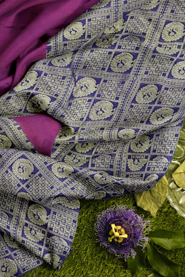 Pure Kanjivaram silk saree purple and navy blue half and half golden peacock zari checked pattern