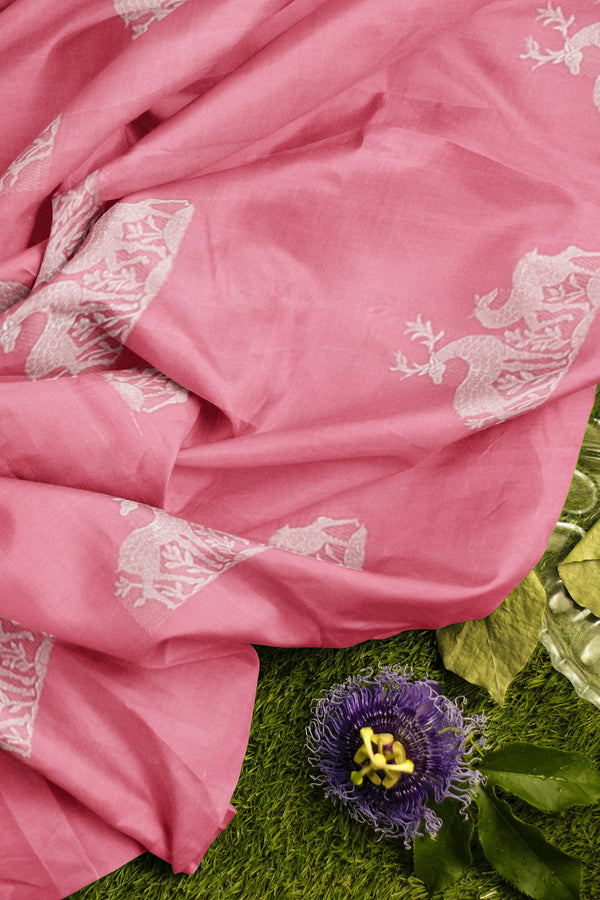 Pure Kanjivaram silk saree pink and purple with silver zari buttas
