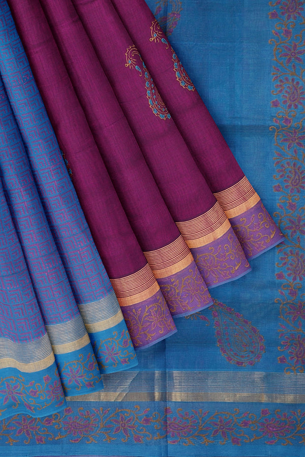 Hand block printed silk cotton partly saree copper sulphate blue and purple with paisley designs