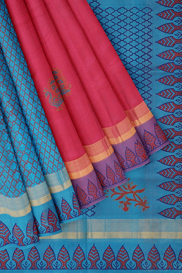 Hand block printed silk cotton partly saree Pink and sky blue with peacock design