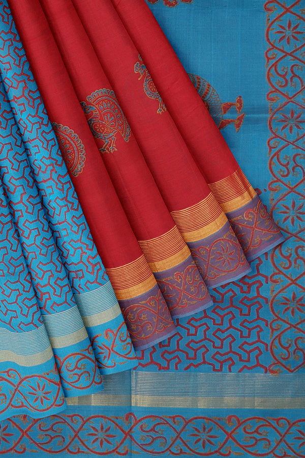 Hand block printed silk cotton partly saree red and blue with peacock designs