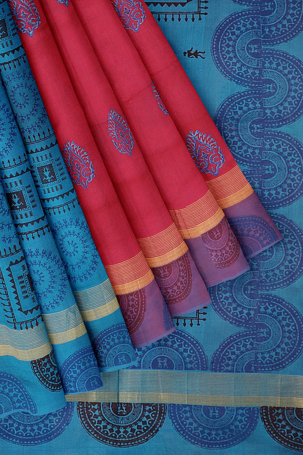 Silk cotton partly saree pink and sky blue with warly hand block prints with simple zari