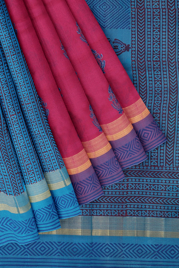 Silk cotton partly saree pink and sky blue with floral hand block prints with simple zari