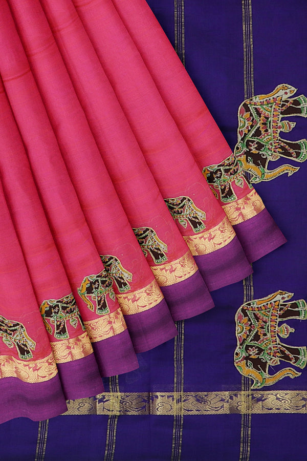 Silk Cotton Saree Dual shade of pink and violet with kalamkari applique work