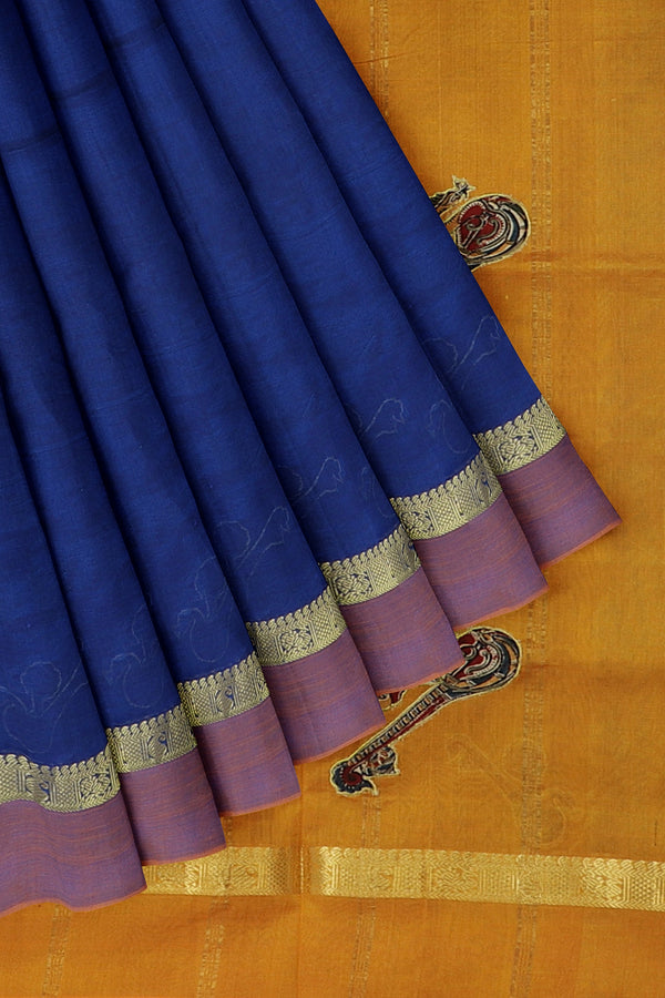 Silk Cotton Saree royal blue and mustard yellow with kalamkari applique work