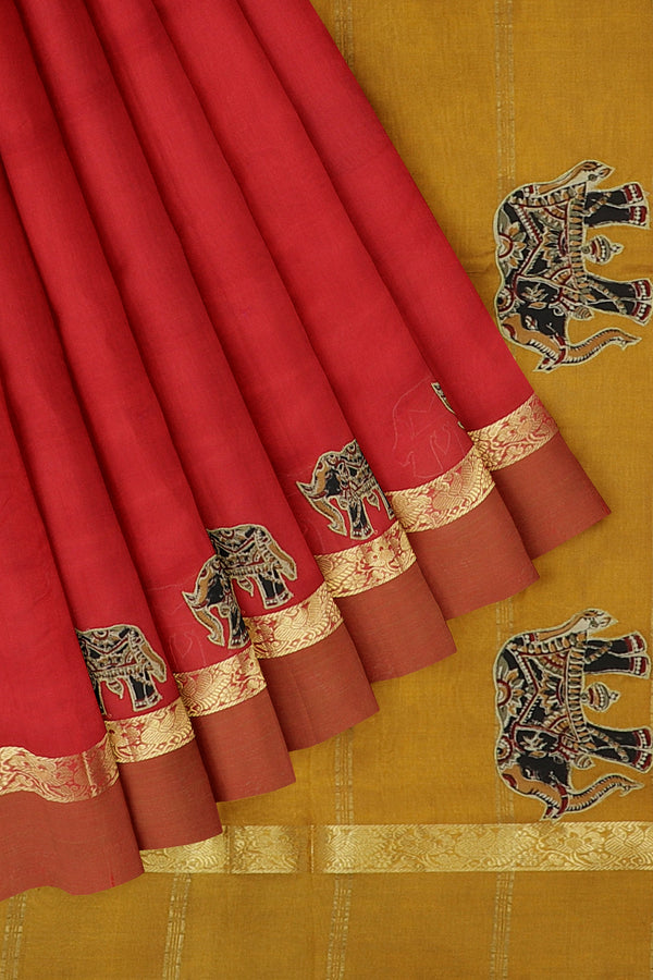 Silk Cotton Saree red and mustard yellow with kalamkari applique work for Rs.Rs. 3695.00 | Silk Cotton Sarees by Prashanti Sarees