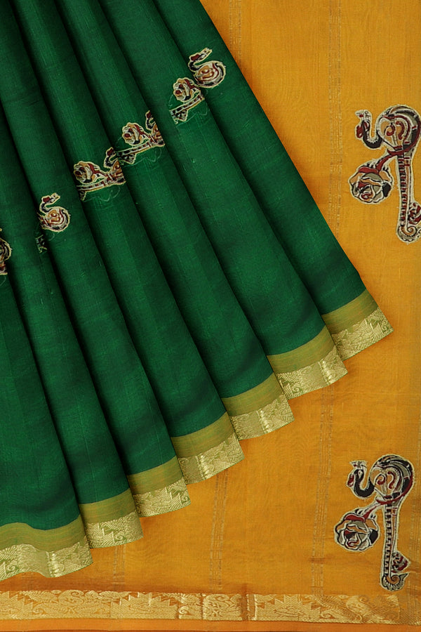 Silk Cotton Saree green and mustard yellow with kalamkari applique work