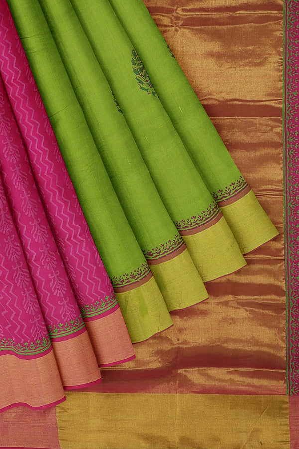 Silk cotton partly saree green and pink with peacock hand block prints with golden zari border