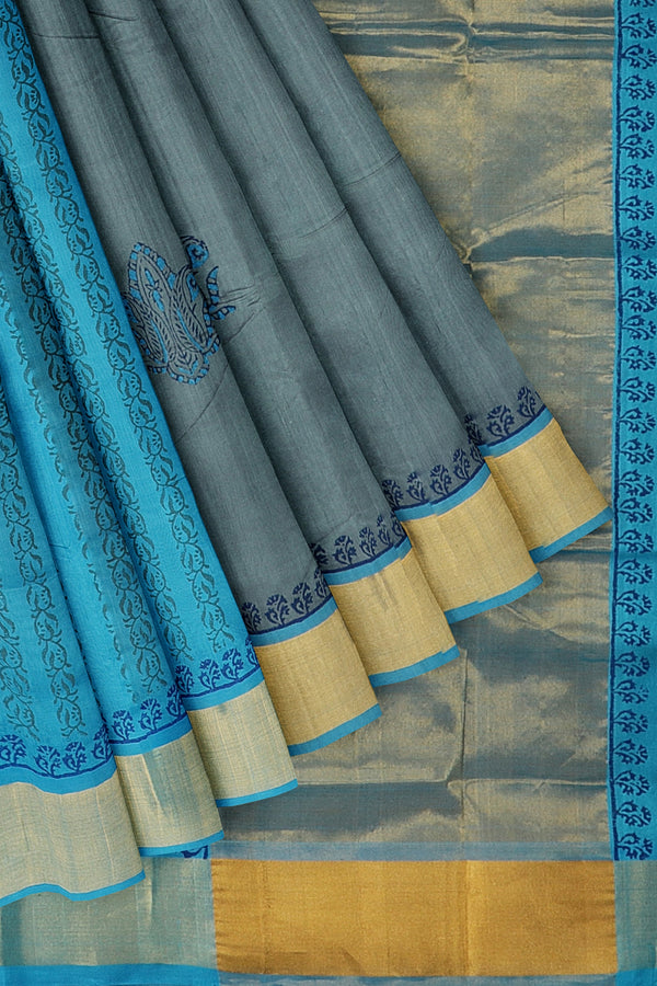 Silk cotton partly saree grey and sky blue with paisley floral hand block prints with golden zari border