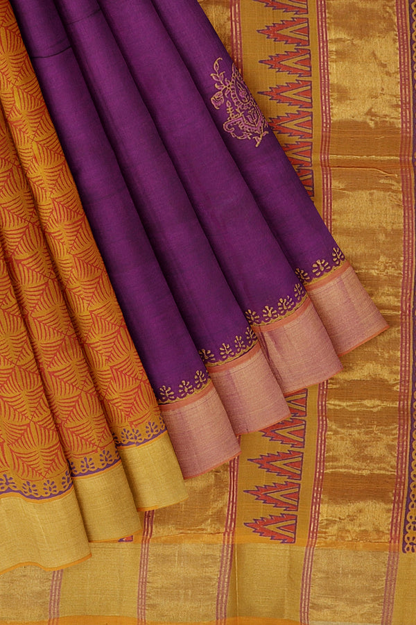 Silk cotton partly saree brinjal and mustard yellow with floral hand block prints with golden zari border