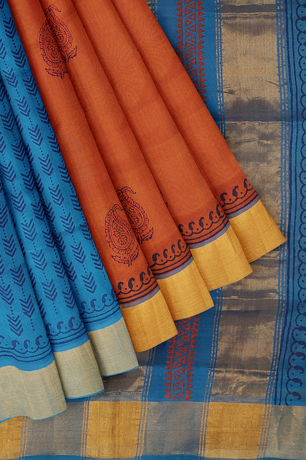Silk cotton partly saree dual shade of orange and blue with paisley hand block prints with golden zari border
