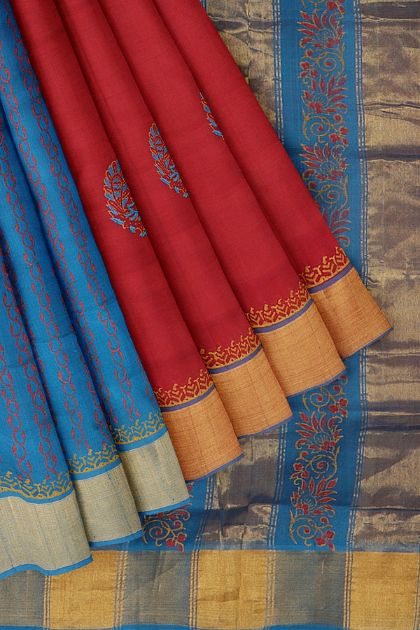 Silk cotton partly saree red and blue with peacock hand block prints with golden zari border