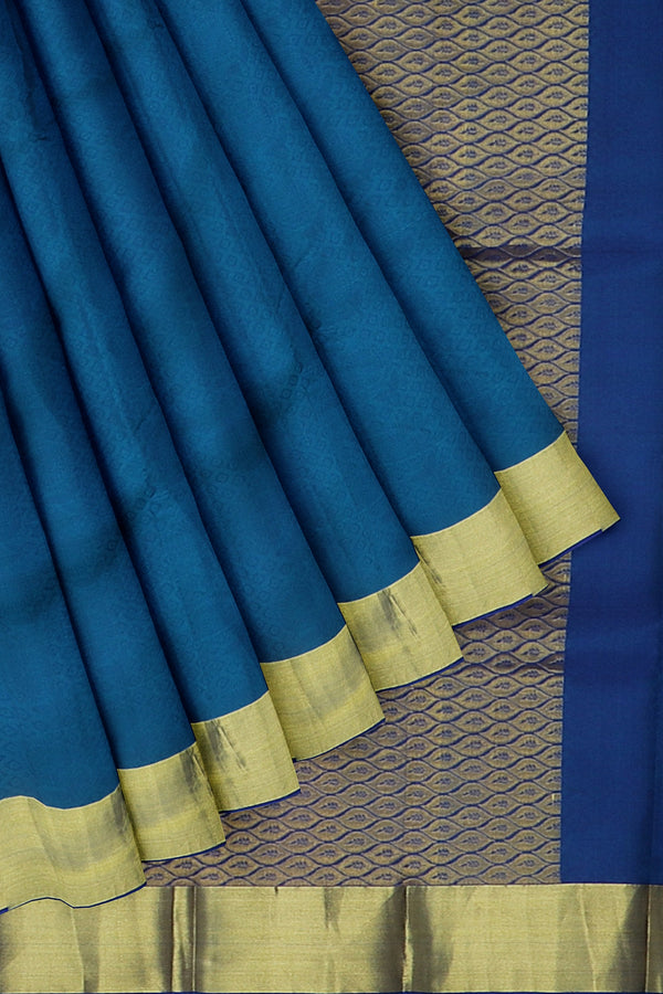Kanjivaram silk saree blue and violet with overall self emboss and simple zari border
