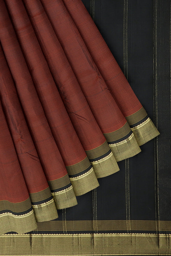 Kanjivaram silk saree coffee brown and black with oveall line emboss and simple zari border