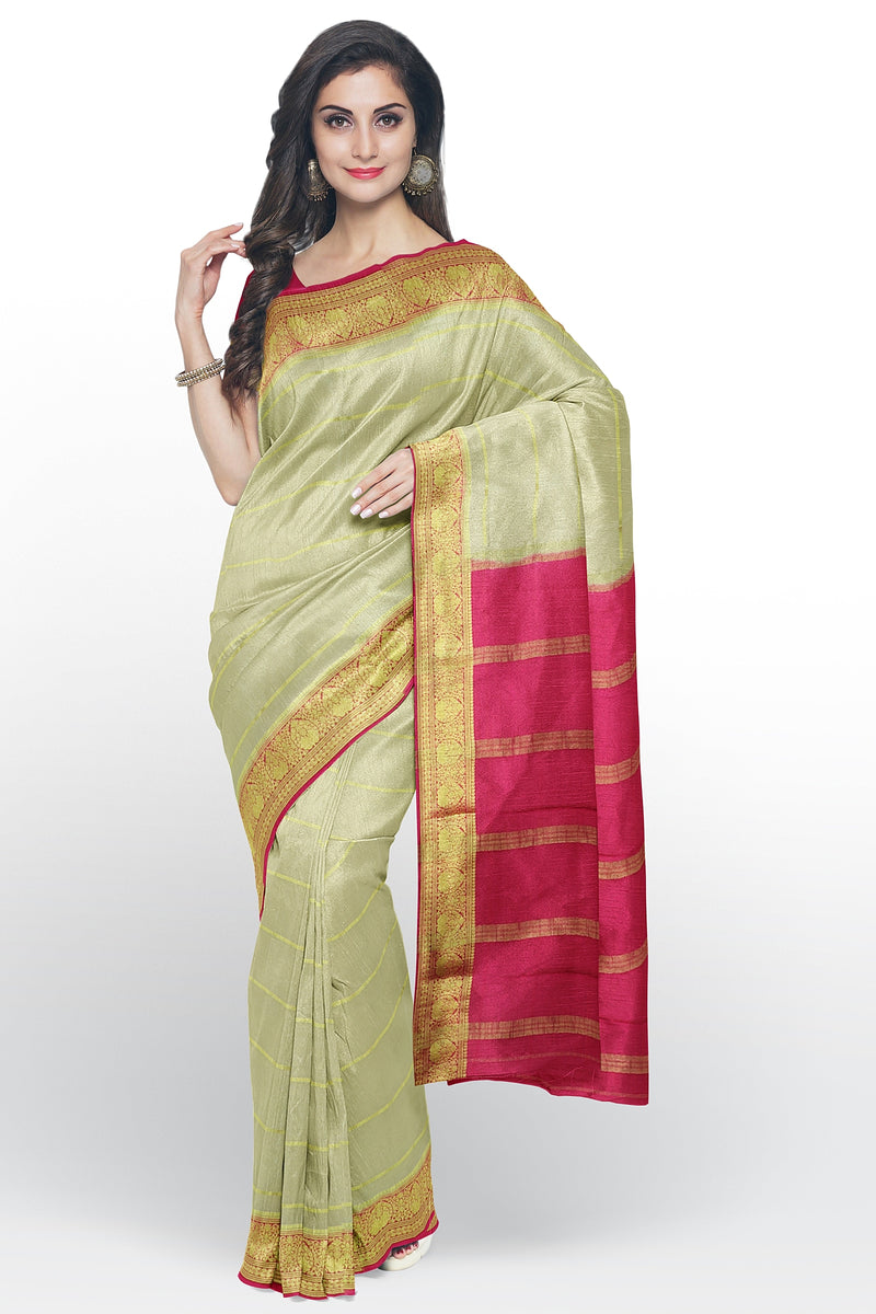 Pure mysore crepe silk saree sandal and pink with golden zari lines and floral zari border