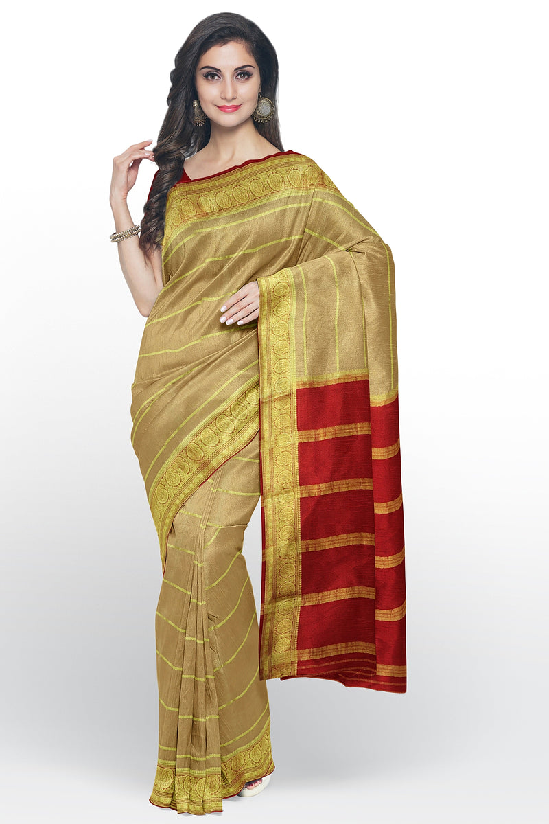 Pure mysore crepe silk saree beige and red with golden zari lines and paisley zari border