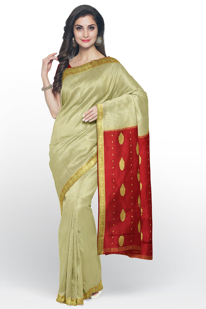 Pure mysore crepe silk saree beige and red with small zari floral buttas and border for Rs.Rs. 6100.00 | Silk Sarees by Prashanti Sarees