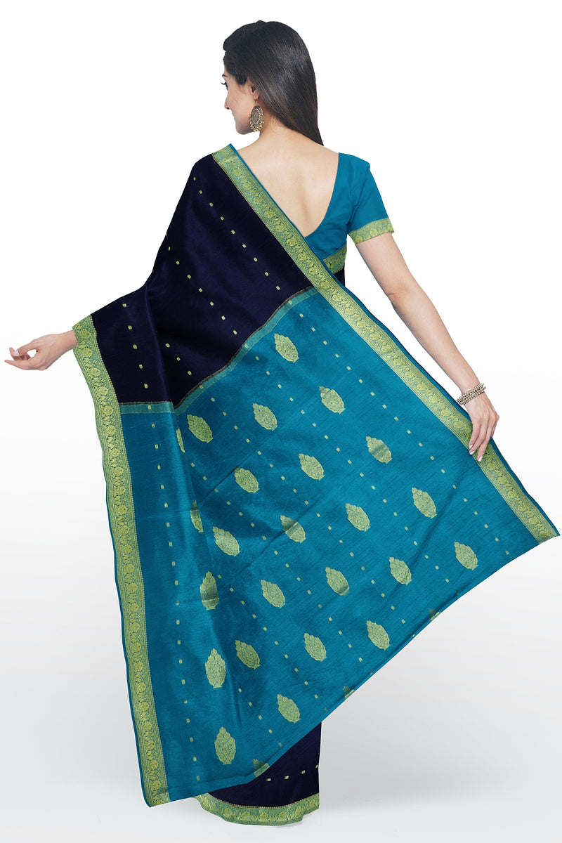 Pure mysore crepe silk saree navy blue and sky blue with small zari floral buttas and border