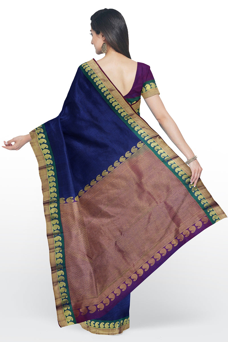 Kanjivaram silk saree blue and magenta with golden paisley zari border
