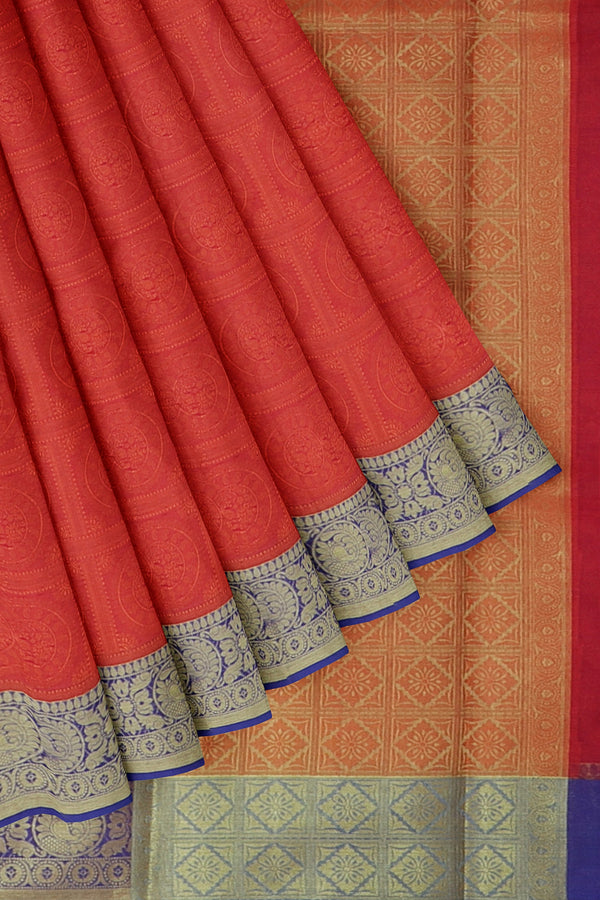 Banarasi Kora orange with blue self embose weaving with kanji style border