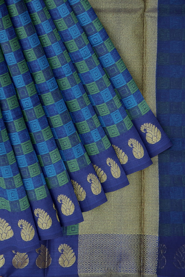 Banarasi Kora navy blue self embose geometric weaving with mango motif border for Rs.Rs. 1450.00 | Banarasi Sarees by Prashanti Sarees