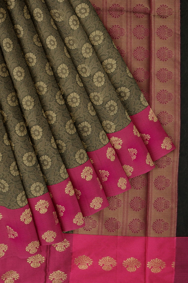 Banarasi Kora brown with pink self embose floral pattern with butta style border