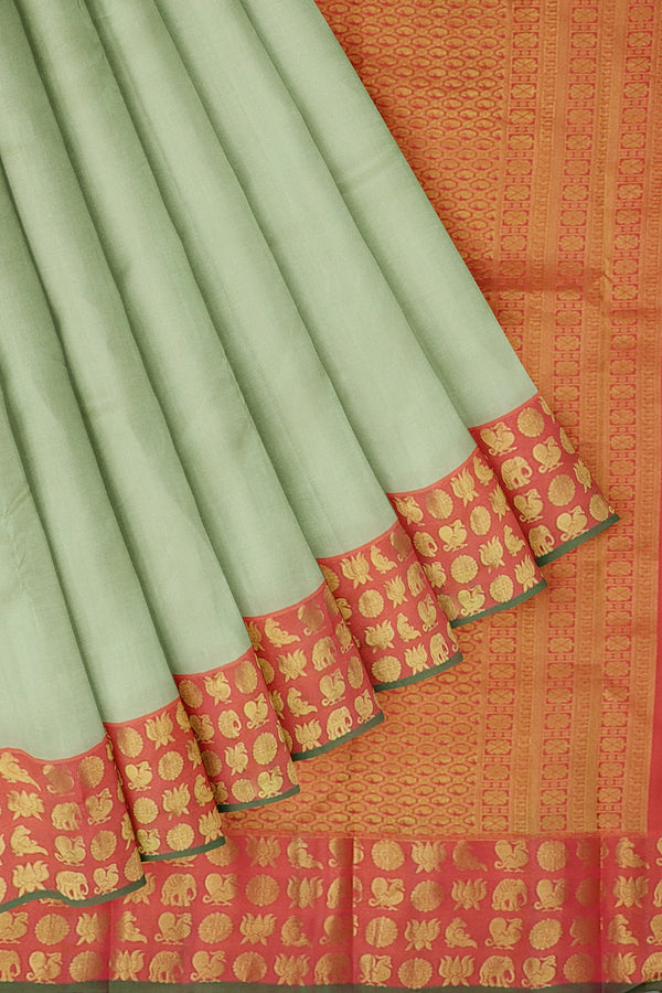 Kanjivaram silk saree beige and peach pink with simple zari korvai border