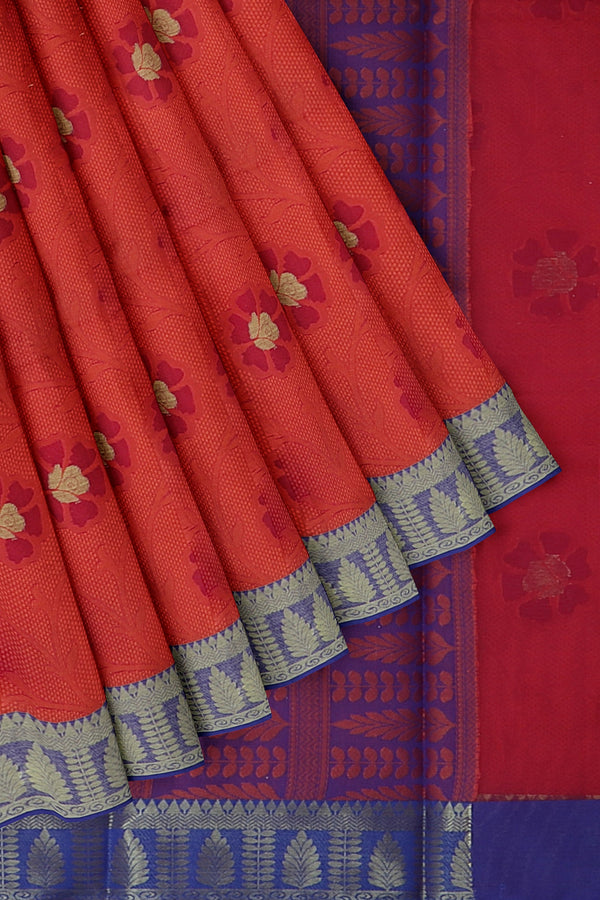 Banarasi Kora red with self embose floral weaving with kanji style border