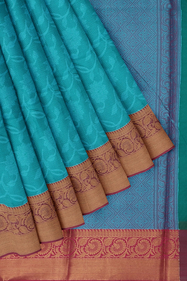 Banarasi Kora dual shade of blue and pink with self embose pattern with pink kanji style border