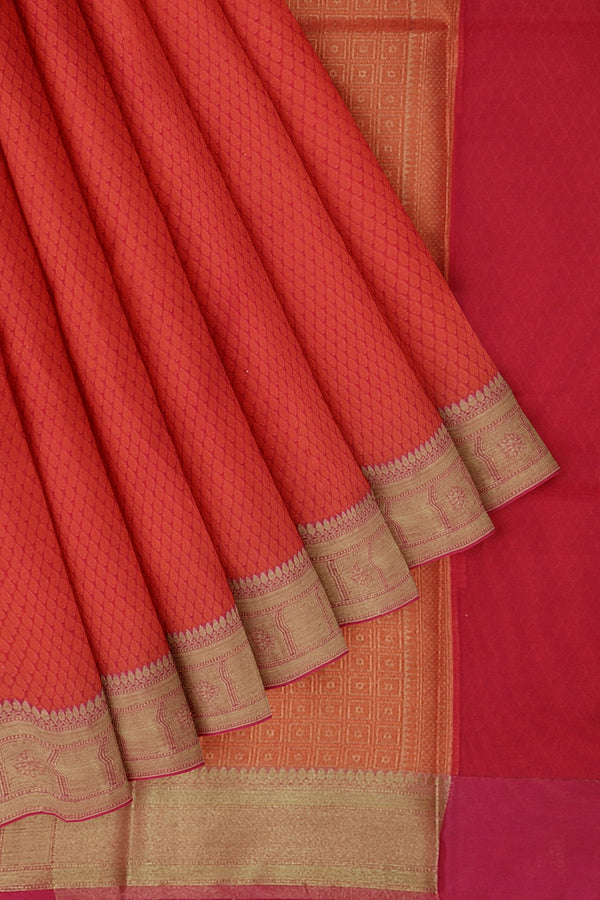 Banarasi Kora orangish pink self embose pattern with kanji style border