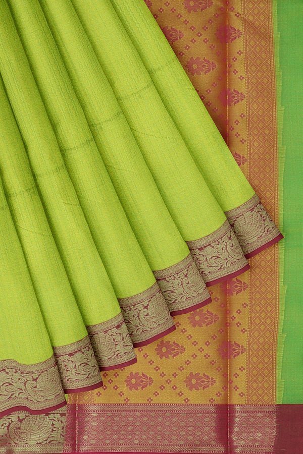 Banarasi Kora parrot green with pink self embose pattern with kanji style border for Rs.Rs. 1450.00 | Banarasi Sarees by Prashanti Sarees