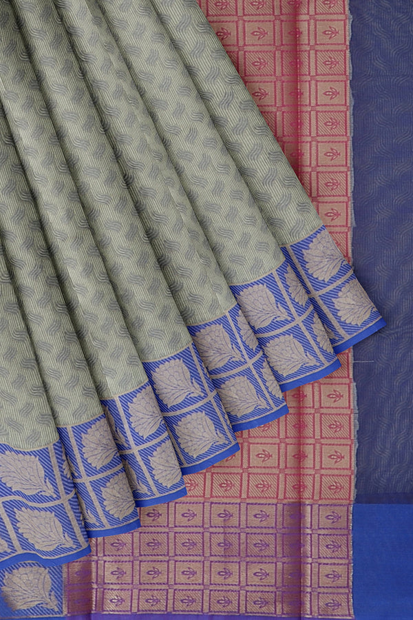 Banarasi kora grey with blue self embose pattern with zari border for Rs.Rs. 1450.00 | Banarasi Sarees by Prashanti Sarees