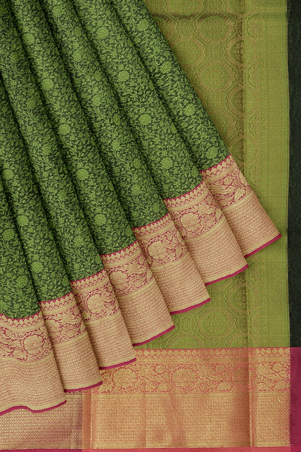 Banarasi Kora jungle green with pink self embose pattern with kanji style border