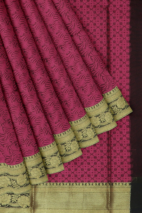 Banarasi Kora magenta with black self embose pattern with kanji style border