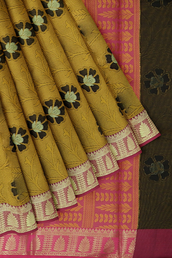 Banarasi Kora golden yellow with pink self embose pattern with kanji style border for Rs.Rs. 1450.00 | Banarasi Sarees by Prashanti Sarees