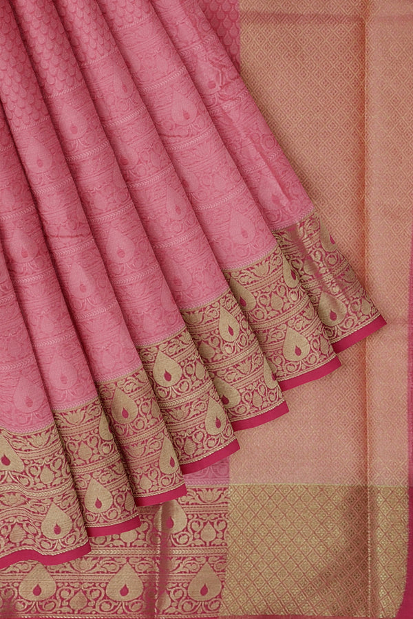 Banarasi Kora baby pink self embose pattern with kanji style border