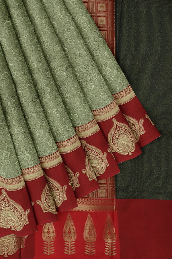 Banarasi Kora grey with red self embose pattern with butta style border